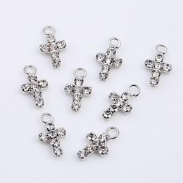 Solitär ohrringe online-DIY Teile Kreuz Diamanteinsatz Halskette Mini Dangler Helle Bohrer Einzel Earbob Anhänger Ohrringe Weiß Mode 0 35qc bb