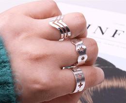 anillo de jade indio Rebajas Europa y América plateado simple estrella de cinco puntas conjunto anillo abierto anillo de la cola envío gratis venta al por mayor