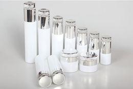Wholesale Glass Lotion Bottles Pump - 10pcs Classical Elegant White Glass Pump Bottle Glass Cream Jar Emulsion Bottle Lotion Pump 30g 50g 30ml 60ml 100ml 120ml