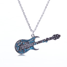 Wholesale Guitars Heart - 2018 Punk Blue Crystal Pendant Necklaces for Women Choker Music Guitar Silver Long Chain Necklace Free Shipping