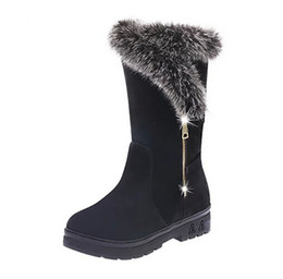 Wholesale Red Bling Heels - Snow Boots Suede Winter Fur Bling Shoes Plush Warm Ladies Winter Ankle Waterproof Zipper High Boots Women Fashion