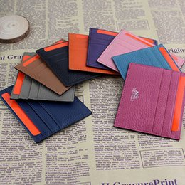 Wholesale Wallet Slim Woman - Ultra-thin Real Leather Wallet ID Card Holder Fashion Classic Design Men Women Credit Card Holder Slim Bank ID Card Case Pocket Bag