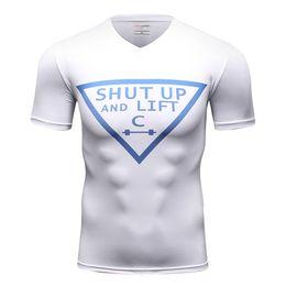 Hombres ajustados pantalones cortos blancos online-Hombres Summer Running Camisetas Medias de compresión Blanco de secado rápido de manga corta Sportwear Jerseys de ciclismo desgaste de la aptitud de alta calidad