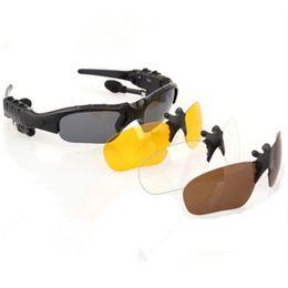 Wholesale Bluetooth Headphones Sunglasses - Sunglasses Bluetooth Headset Sunglass Stereo Wireless Sports Headphone Handsfree Earphones MP3 Music Player Sunglass for iPhone Samsung