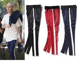 Wholesale european decorative - FOG European High Street Style TRACK PANTS Casual Pants Bieber Men's High Quality Striped Zipper Decorative Fashion sweatpants