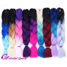 Wholesale 24 synthetic hair extensions - 3Tone Ombre Kanekalon Synthetic Jumbo Braid Twist Hair Extensions 5Pcs Lot Jumbo Box Braiding Hair For A Full Head Ombre Jumbo Braids Hair