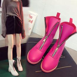 koreanische mode-stiefeletten Rabatt Korean Fashion Leder Winterstiefel Frauen Zipper White Ankle Boots Damenschuhe 2018 New Herbst Winter für Mädchen