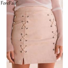 Wholesale Womens Suede Skirts - Wholesale- ForeFair Latest Trend Suede Empire Two Sides Lacing Vintage Skirt Plus Size Saia Back Zipper Slim Mini Pencil Skirts Womens
