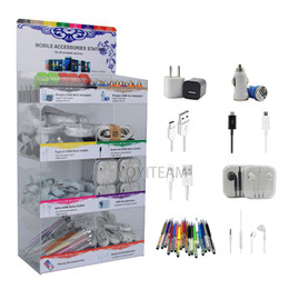 Wholesale Aux Charger - acrylic display box 8 in 1 mobile phone portable accessories use for smartphones with usb charger & cable aux cable earphones