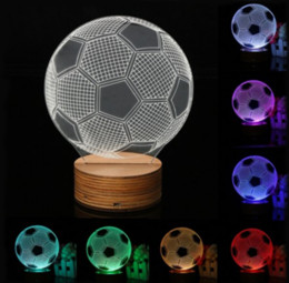 Wholesale wholesale football lamps - World Cup Creative Football 3D Night Light Simple Energy Saving USB Night Lamp Creative Button Type LED Lights Souvenirs GGA304 10PCS