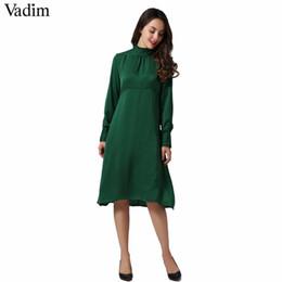 frauen rüsche kragen kleid Rabatt Vadim Frauen elegante gefaltete feste Midi  Kleid gekräuselten Kragen weibliche casual 8eb2407737