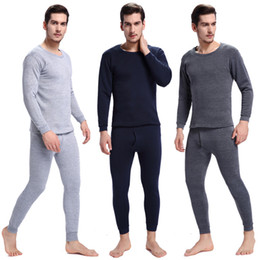 Wholesale long johns sets for men - Hot Pajamas Winter Warm Thermal Underwear Mens Long Johns Sexy Black Thermal Underwear Sets Thick Plus Velet Long Johns For Man