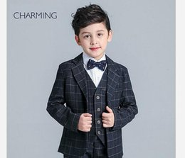 Wholesale China Brand Suits - 2018 Brand New boys black suit British style Long sleeve suit Plaid fabric boys 3 piece suit discount promotion From china suppliers