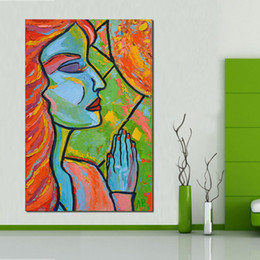 Wholesale Lady Abstract Oil Painting - Oil Painting Butiful lady Color hair Wall Pictures for Living Room no Framed Home Decor Canvas Art No Framed