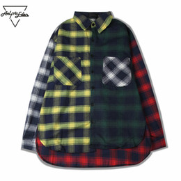 Wholesale Block Dresses - Wholesale-Aelfric Eden Mens Casual Shirts Color Block Patchwork Plaid Long Sleeve Shirts Hip Hop Coat Plaid Shirt Male Dress Shirt SNL790