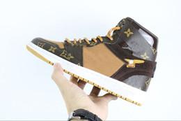 Fora laços brancos do laço on-line-Frete Grátis DHL Top Quality 2018 Liberar off 1 Sneakers Branco 1S Homem Autêntico Qualidade Sapatos de Basquete off Sapatos De Couro Reais Com Caixa