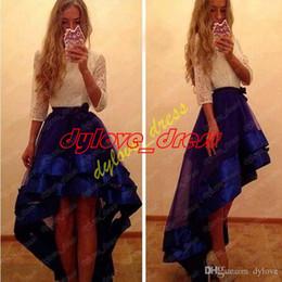 2018 sexy pas cher élégante, plus la taille robe courte de soirée haute basse longue manches sirène robe de bal robe quinceanera robes 2018 ? partir de fabricateur