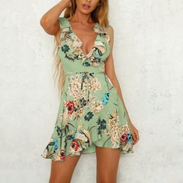 Wholesale Wholesale V Neck Wrap Dress - Beach Summer Dress Women Chiffon Ruffle Floral Print Boho Dresses Deep V Neck Sleeveless Mini Wrap Dress With Belt