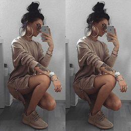 Wholesale Active Shops - 2016 Plus Size Women pocket front Hoodies Coat Warm Side Zip Outerwear Sweatshirts Khaki Drop shopping