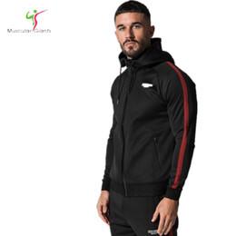 Wholesale qiu dong jacket - 2018 Qiu dong brandHoodies Brand Clothing Men Hoody Zipper Casual Sweatshirt Muscle Men's Slim Fit Fitness hooded Jackets M-XXL