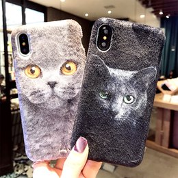 Wholesale Mobile Plush - New idea iPhoneX animal cat mobile phone shell iPhone7 8plus silicone Plush protective sleeve