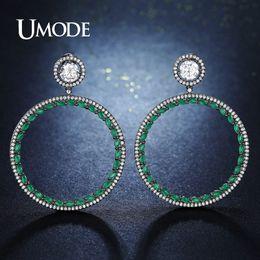 Wholesale Costume Gun -  Luxury Costume Jewelry Big Round Green Crystal Drop Earrings for Women Bijoux Femme Black Gold Gun Color Brincos UE0303C