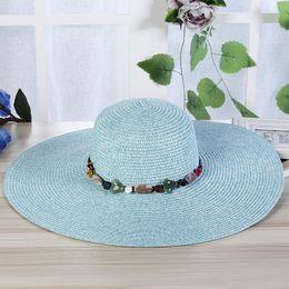 piedras de sombrero Rebajas Myelo venta caliente moda amplia borde grande  sombreros del sol para las 2a5ee18240e