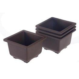 Wholesale Plant Pots For Balconies - 6 Sizes Retro Basin Plastic Flower Pot Balcony Flower Bonsai Planter Nursery Pots Maceta Cuadrada for Garden