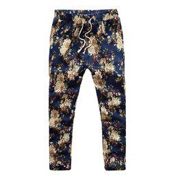 Nove minuti pantaloni online-All'ingrosso-2017 pantaloni moda uomo estate stampa fiore sottile modello casuale pantaloni da uomo pantaloni pantaloni Jogging nove minuti pantaloni MK09