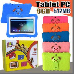 tablet quad google Desconto Presente Crianças Marca Tablet PC 7 polegada Quad Core crianças tablet Android 4.4 Allwinner A33 google jogador wi-fi grande falante capa protetora L-7PB