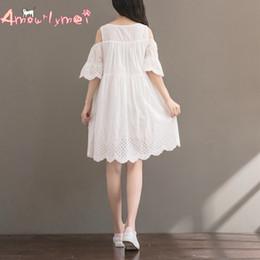 2d6e7d2cae linen Amourlymei Women Summer Japanese Style Mori Girl Off Shoulder  Butterfly Sleeve Hollow Out Embroidery Cotton Linen Dress