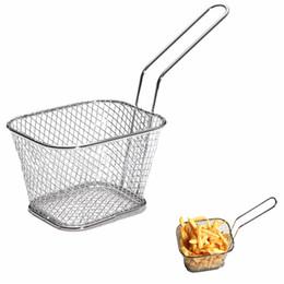 Bratkörbe online-Mini Braten Körbe Küche Kochwerkzeug Metall Französisch Frites Basket Siebe Hohe Qualität 5 5br C R