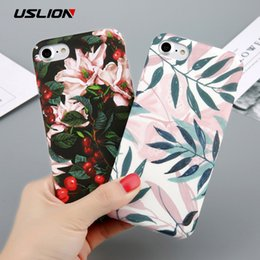 Wholesale apple tree print - Case For iPhone 6 Flower Cherry Tree Hard PC Phone Cases Candy Colors Leaves Print Cover Coque For iPhone 6 6s 7 8 Plus