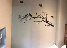 Wholesale Tree Branch Vinyl Wall Art - Free shipping Large size 147cmx71cm Vinyl Tree Branch with 10 birds Wall Decal Removable Wall Sticker Home Decor Art Mural,T3003