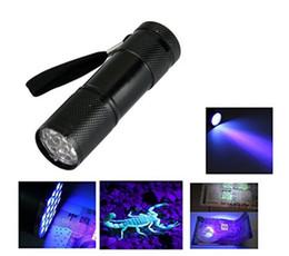 Wholesale blacklight free - free shipping UV Flashlight Black Light UV Lights 9 LED Ultraviolet Blacklight Flashlights 3AAA battery torch