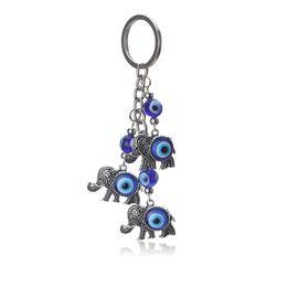 Canada EYE EVIL nouveau mode mal oeil éléphant porte-clé à la mode en métal éléphant bleu porte-clé pendentif pour homme femme pendentif cheap evil blue Offre