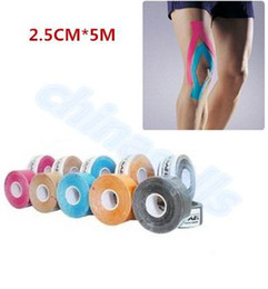 Wholesale Adhesive Elastic Bandage - 2.5cm x 5m Muscle Tape Sports Tape Kinesiology Tape Cotton Elastic Adhesive Muscle Bandage Care Physio Strain Injury Support
