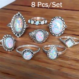 8PCS / Set Donna Colore Bianco 100% Vero 925 Gioielli in argento sterling Naturale Pietra opale di fuoco Argento massiccio 925 Anelli a fascia sottile da