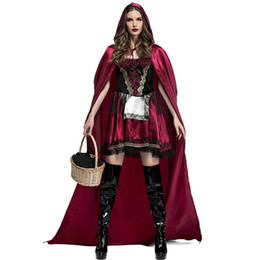 Wholesale Red Hooded Cloak - 2018 Adult Women Halloween Costume Little Red Riding Hooded Robe Lady Cosplay Dress Suits Cloak Outfit For Girls Plus Size
