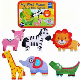 2019 i bambini primi giocattoli Bambino in legno Jigsaw Puzzle Toy Bambini Cartoon Animal Puzzle Il mio primo puzzle 6-IN-A-BOX Giocattoli educativi classici animali Regalo per bambini i bambini primi giocattoli economici