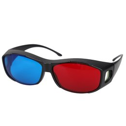 Wholesale plasma blue - 5pairs Red+Blue Plasma TV Movie Dimensional Anaglyph 3D Vision Glasses (Anaglyph Frame), Black