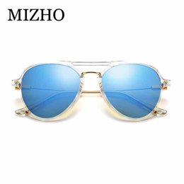 korea sunglasses Promo Codes - MIZHO Transparent Plastic Frames Pilot Sunglasses Women Mirror Lens High Quality UV400 Real Color Men Korea Eyewear Mujer white