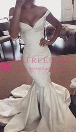 Wholesale vintage black taffeta skirt - 2018 Gorgeous V Neck Mermaid Wedding Dresses Off The Shoulder Taffeta Sweep Train Bridal Gown Custom Made