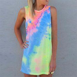Wholesale Tie Tops Women - 10pcs Summer Women Tie-dye Print Rainbow Tank Dress Beach Clubwear Shirt Shift Mini Dresses Casual Sleeveless Sundress Blusas Tops M173