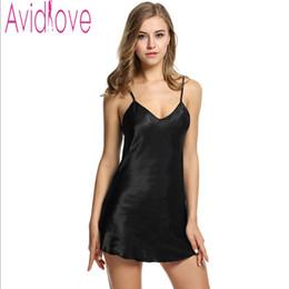 d1800ac7193 Avidlove Brand Summer Stain Nightgown Women Sleepwear Sexy Stain Nightdress  V Neck Strap Solid Nightwear Female Home Cloth S-XXL