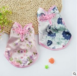 ropa tang Rebajas Puggy Dog Chinese Costume Perros pequeños Teddy Bichon Princess Dog Cat Tang traje 2018 Summer Pet Dog Clothes de calidad superior