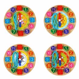 Pizzo di legno online-Blocchi di legno perline di allacciatura Puzzle Perline Giocattoli educativi per cartoni animati di animali Zebra carino per bambini Orologio digitale in legno
