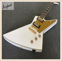 guitare électrique, blanc solide, plaque métallique de protection en métal doré, pièces en or, coque arrière en plastique blanc, touche en palissandre, livraison gratuite! ? partir de fabricateur