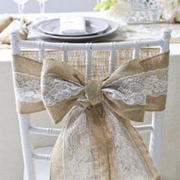 Fajas de arpillera online-15 * 240 cm Naturalmente Elegante Silla de Encaje de Arpillera Fajas Yute Silla Tie Bow Para Rústico Wedding Party Event Decoration