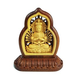 Wholesale Wood Craft Cars - Double sided Buddhism Car furnishing articles handicraft wood arts crafts Souvenir Home furnishings gift handmade Holiday gift